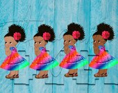 African American Mexican Rainbow Dress Fiesta Colors Baby Girl Babies of Color Set Afro Clipart Instant Download