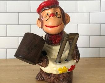 Vintage Monkey Nutcracker with Tool Set