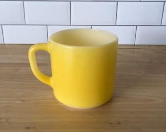 Vintage Yellow Milk Glass Federal Glass Mug