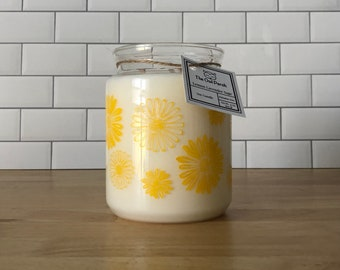 Lemon Lavender Sage Soy Candle in Vintage Pyrex Daisy Canister