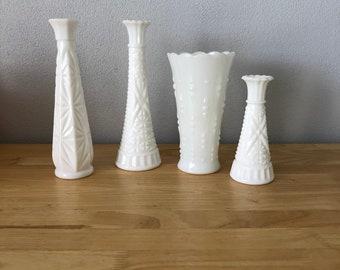 Vintage Milk Glass Vase Collection Set of 4