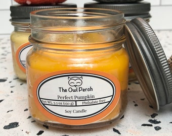 Perfect Pumpkin Autumn Holiday Mason Jar Soy Candle