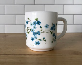 Vintage Acropal Blue Flowers Floral Milk Glass Mug