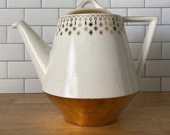 Hall's China Large Mid Century Gold Atomic Coffee Pot