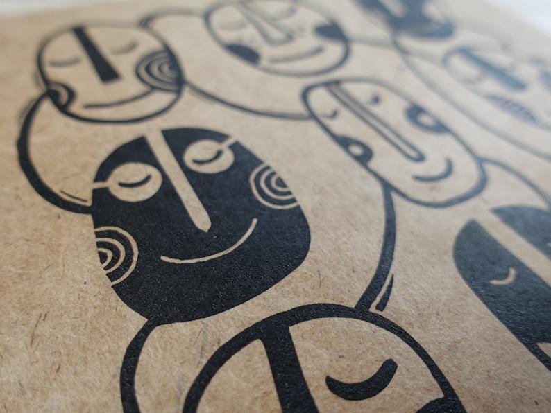 Mindfulness Happy Thoughts Yoga Meditation Black on Bhutanese Paper Lino Print