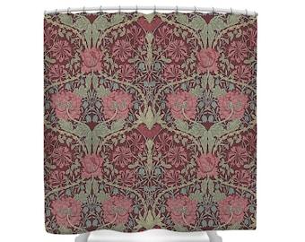 William Morris HONEYSUCKLE TULIP Burgundy Sage Shower Curtain