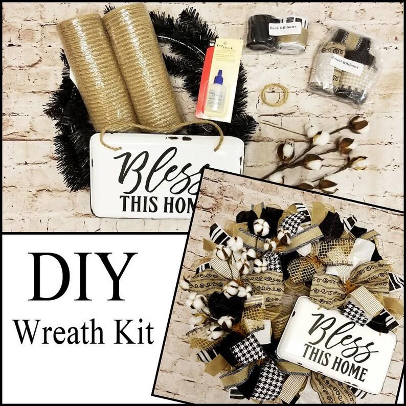Cotton Burlap DIY Wreath Kit mesh wreath kit front door image 0