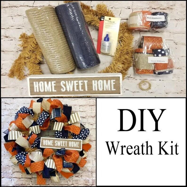 Home Sweet Home Orange and Navy DIY Wreath Kit image 0