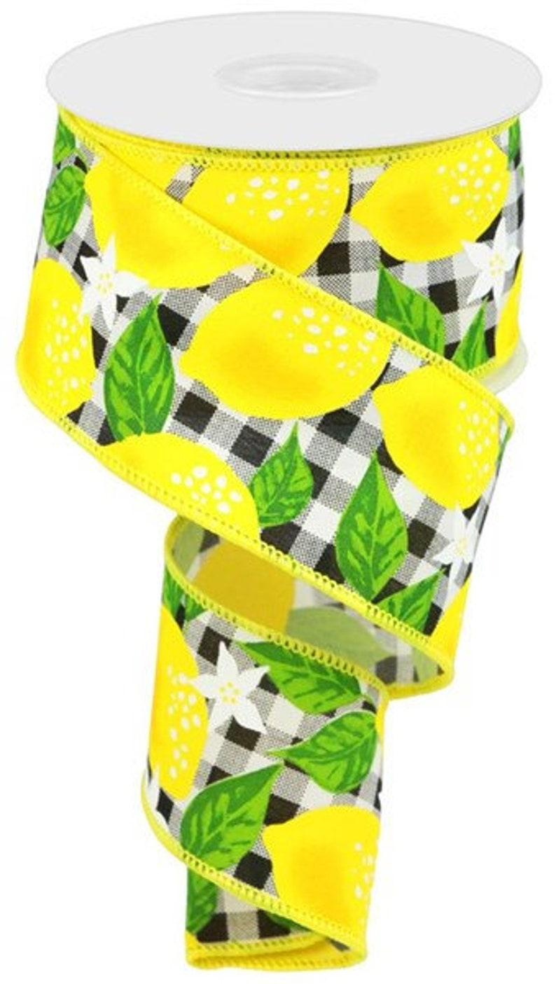 Lemon Wreath Ribbon Lemon Check Lemon Ribbon Black and White Lemon Ribbon 2.5 Lemon Wired Ribbon Lemon Craft Ribbon Lemon Bow Ribbon