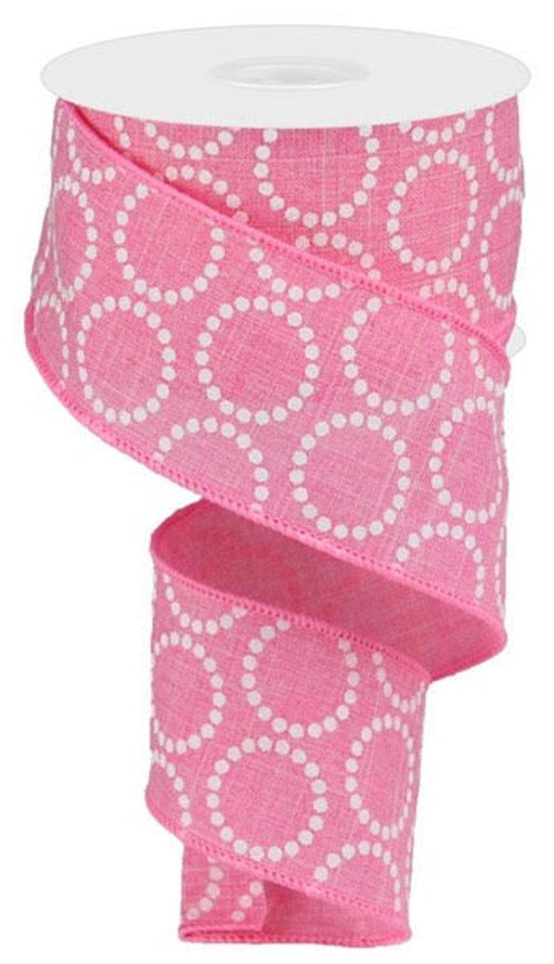 Breast Cancer ribbon Pink white dot ribbon 2.5 Pink wired ribbon Pink Craft Ribbon Spring Ribbon Valentine Ribbon Easter Ribbon