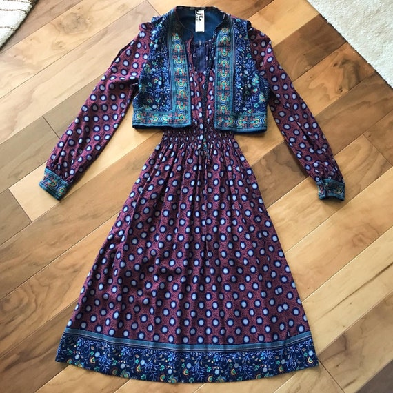 Gorgeous 1970s Dress and Vest with Pattern Mixing