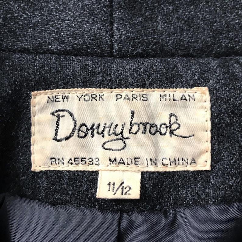 1970s Donnybrook Charcoal Gray Cropped Blazer  Cropped Jacket with Black Cotton Appliqu\u00e9s M