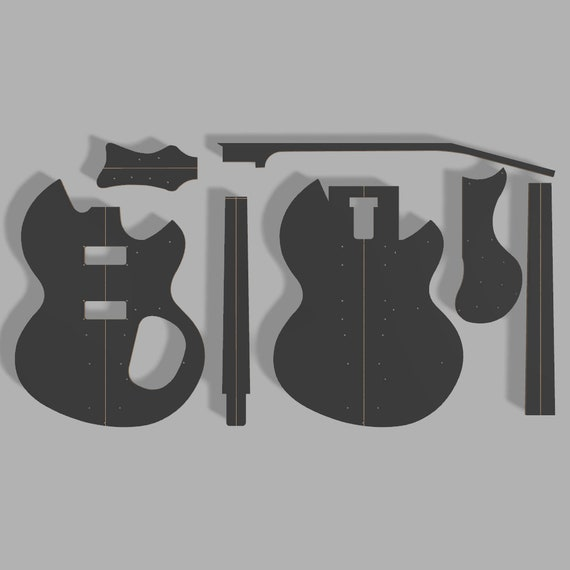 "Blackmachine B7 27/"" Scale Guitar Template MDF 0.50/"""