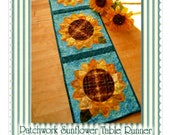 PATCHWORK SUNFLOWER Table Runner Pattern By Shabby Fabrics
