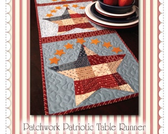 Pattern ~ PATCHWORK PATRIOTIC TABLE RUNNER ~ by Shabby Fabrics
