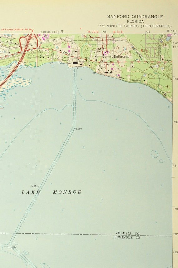Sanford Map of Lake Monroe Florida Art Print Wall Decor LARGE USGS on warm mineral springs map, seminole towne center map, staten map, whispering pines map, goldenrod map, boothbay region map, frostproof map, southwest orlando map, port clyde map, lake mary map, scott lake map, bonifay map, silver valley map, west volusia map, lee vista map, ontario intl airport map, bennettsville map, thonotosassa map, central carolina community college map, rose city map,