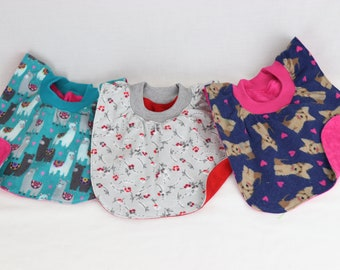 Soft Stretch Neck Ribbing Washable High Quality Fabrics Two Layers Absorbent Soft Cotton Flannel No Fasteners Baby Bib Pullover Style