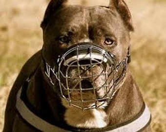 Strong Metal Wire Basket Dog Muzzle Amstaff Pit Bull