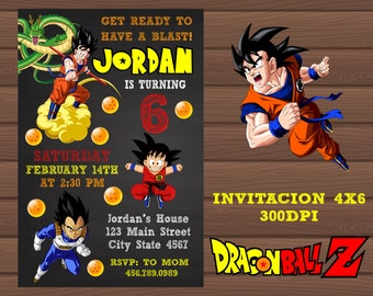 Invitation Dragon Ball Z Personalized 4x6 Digital Birthday