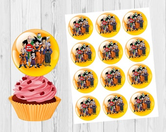 12 Cupcakes Toppers Birthday Dragon Ball Z Dirthday Cake
