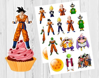 8 Cupcakes Toppers Birthday Gbidragon Ball Z Happy Cake