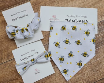Dog bandana, bow-tie and matching hair scrunchie in beautiful bumble bee fabric! Personalisation available