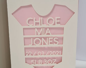 New Baby personalised Birthday card with cut out design. Various inside colours to choose.