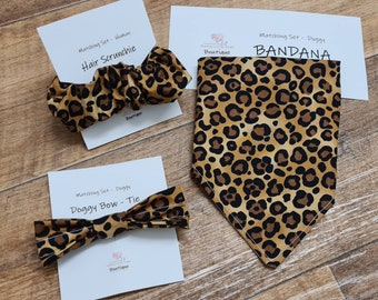 Dog bandana, bow-tie and matching hair scrunchie in beautiful leopard print fabric! Personalisation available