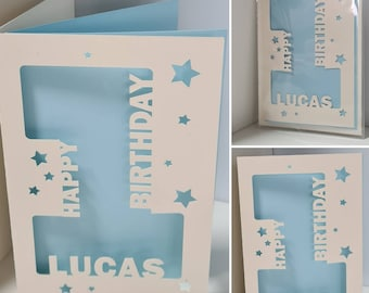 Special Age personalised Birthday card with cut out design. Various inside colours to choose.