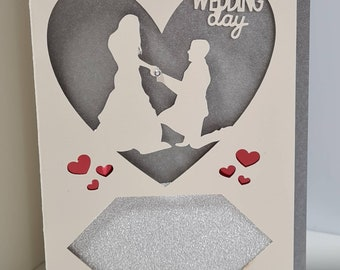 Wedding day personalised card with cut out design. Various inside colours to choose.