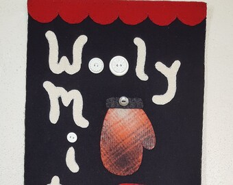 wool applique pattern wwool kit #CQD101 Wooly Mittens by Cabin Queen Designs