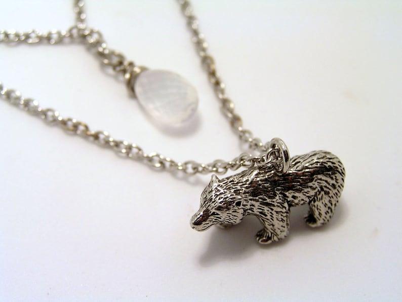 N2276 Charm Necklace Polar Bear Jewelry Polar Bear Necklace with Ice Quartz Australian Sellers Two Strand Necklace IceQuartz Necklace