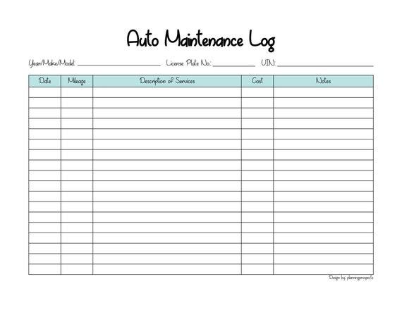 picture relating to Car Maintenance Log Printable called Car or truck Mend Log Printable