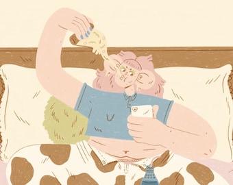 Pizza Night!! - A4 Illustration Giclee Print