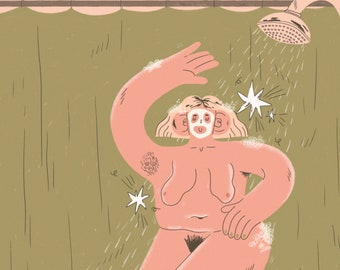Dancing in the shower - A4 illustration Giclée print
