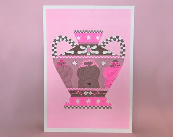 Love Yourself  Grecian Vase - A3 Illustration Pink and Brown Risograph