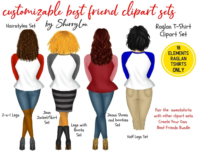 Add-On Raglan T-Shirts Kit Besties Graphics Raglan T-Shirts ONLY Customizable BFF,Illustrations Best Friends Clipart