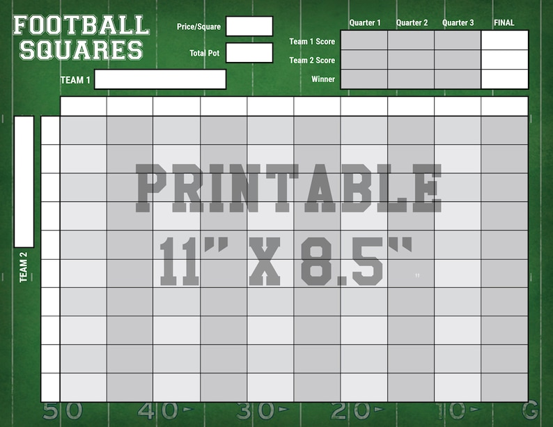 image relating to Printable Football Grid named 4-Quarter Soccer Squares - Obtain Print - ANY Soccer Recreation - 11x8.5\