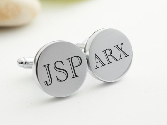 Groomsmen Gift Personalized Cufflinks Custom Round Stainless Steel Cuff Links Silver Cuflinks Monogram Men's Gift Initial Letter Cuff Links by Etsy