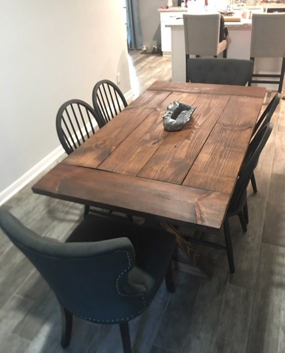 Rustic Wood Trestle Dining Table Rustic Kitchen Table Wood Etsy