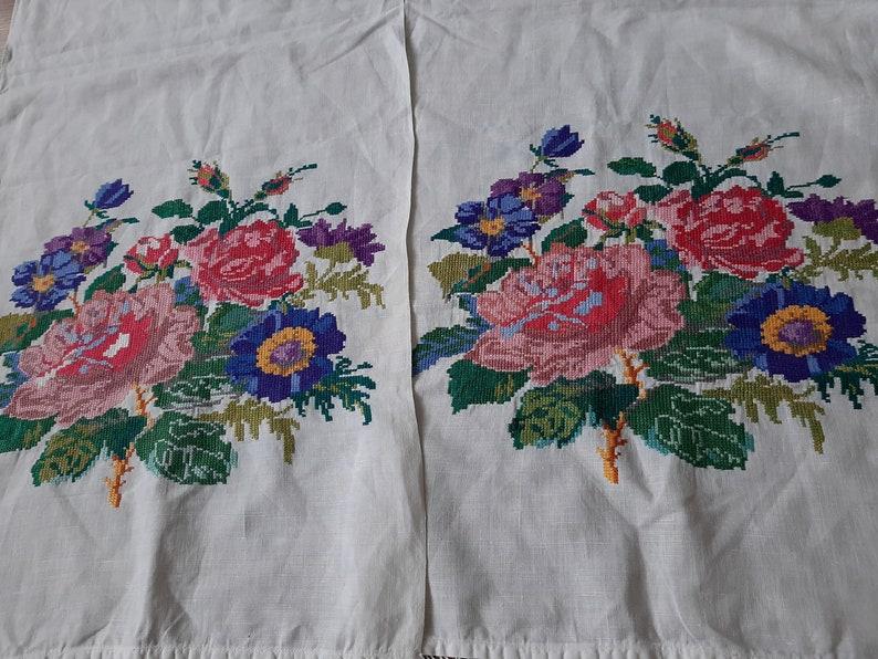 Vintage Ukrainian Embroidery Ukrainian hand embroidery cotton table runner embroidered towel Rustic Traditional folk ethnic rushnyk