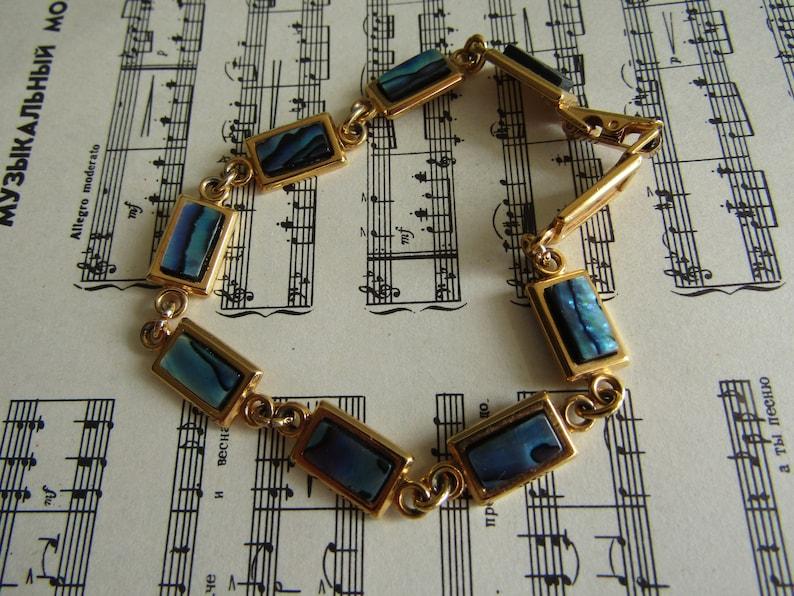 Vintage Bracelet Paua Shell Gold Plated 22 Carat Ariki Bracelet Jewelry New Zealand