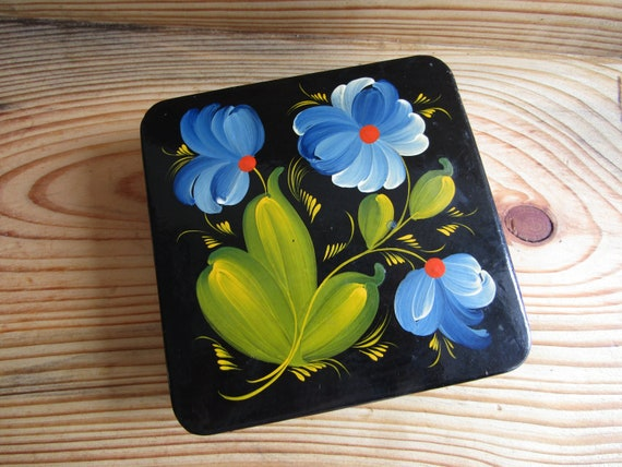 Soviet wooden handmade jewelry box Art Folk Home Decor made in USSR inlaid with beads