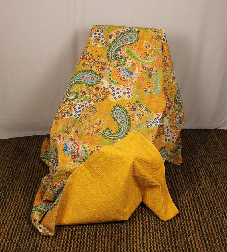 Yellow Indian Handmade Paisley Print Twin Size /& Queen Size Kantha Quilt Bedspread Blanket throw Bedding Summer Bed Cover Kantha Quilt Throw