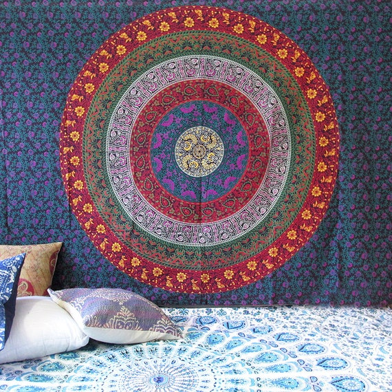 Indian Tapestry Wall Hanging Mandala Bedspread Throw Boho Ombre Flower