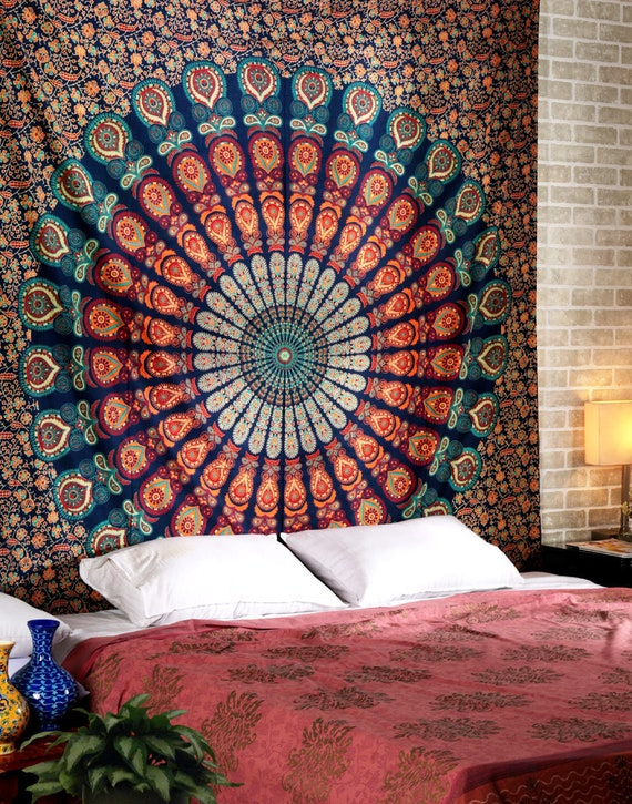 Tie Dye Big Indian Elephant print cotton double bedspread wall hanging hippy