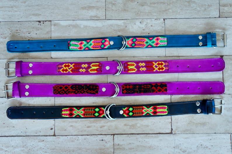 Fiesta Collar Mexican Dog Collar Woven Nylon Dog Collar Medium Leather Dog Collar Handmade Leather