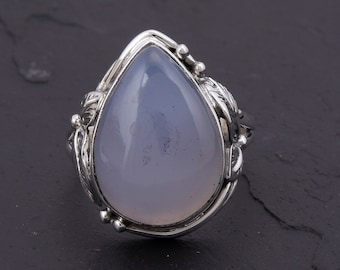Solid 925 Sterling Silver Ring Natural Yellow Calcite Gemstone Fashion Jewelry Size 6