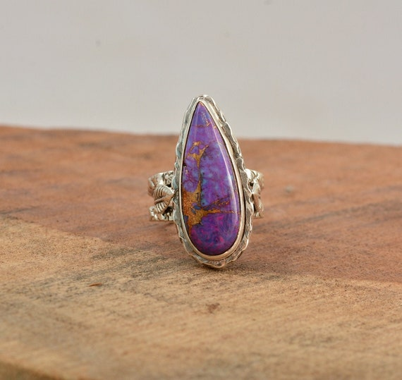 Handcraft Ring Silver Solid,Ring 925-Silver Sterling Ring Purple Turquoise Top Quality Gemstone Ring Middle Finger Ring L#-282313