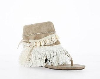 00d279092 TIBET - Taupe Boho Fringe Sandals